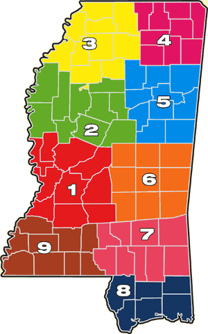 Mississippi Ag Theft District Investigator Map