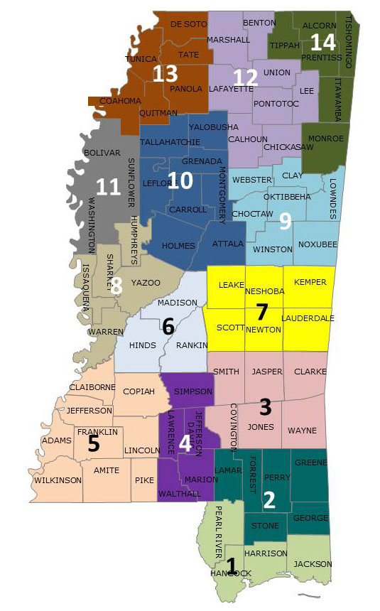 District Inspector Map Mississippi Department Of Agriculture And - Map ms